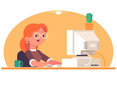 Issue character workplace lighting mom glasses mug cactus desk desktop computer old computer