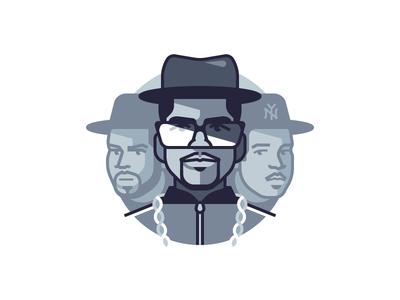 Run DMC glasses hip hop face portrait character music
