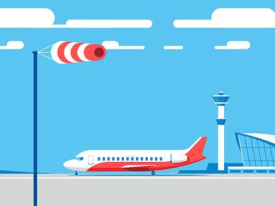 Airport stripes runway jet airplane windsock