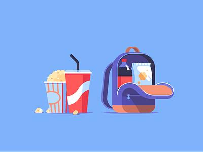 Sneaking In Snacks stripes flat alexey kuvaldin motion authors coke cola backpack popcorn