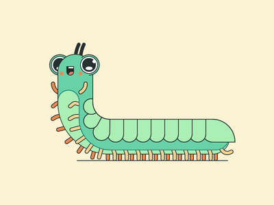 Gusenka centipede bug cute animal character millipede