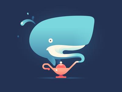 Hey! just for fun genie lamp aladdin lamp genie animal whale