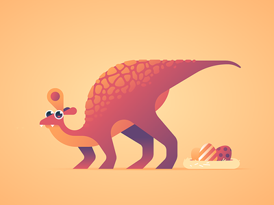 Easterosaurus stripes prehistoric dribbble easter egg dinosaur just for fun illustration animal character