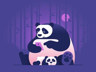 Another Boring Evening illustration character animal panda samsung bamboo