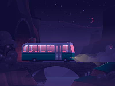Transit vehicle journey bridge just for fun fog stars moon ride road light travel trip night bus
