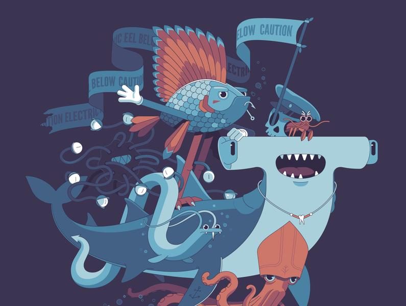 Sea Mob monster animal sea undersea underwater eel native fish shark hammerhead just for fun character