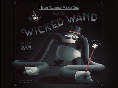 Wicked Wand typography illustration just for fun cartoon bat character animal panda magic