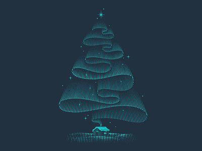 Aurora engraving christmas christmas tree northern lights aurora