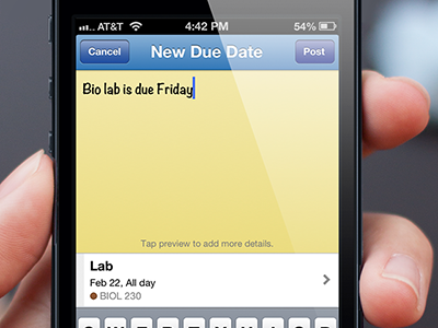 Tabule Add Due Date View iphone todo student planner app tabule