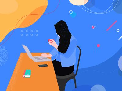 Office Girl web graphics illustration office girl