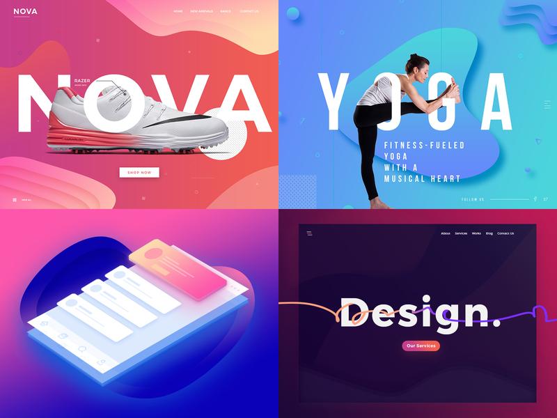 Top 4 shots from 2018 slider minimalistic banner design illustration vector graphics web