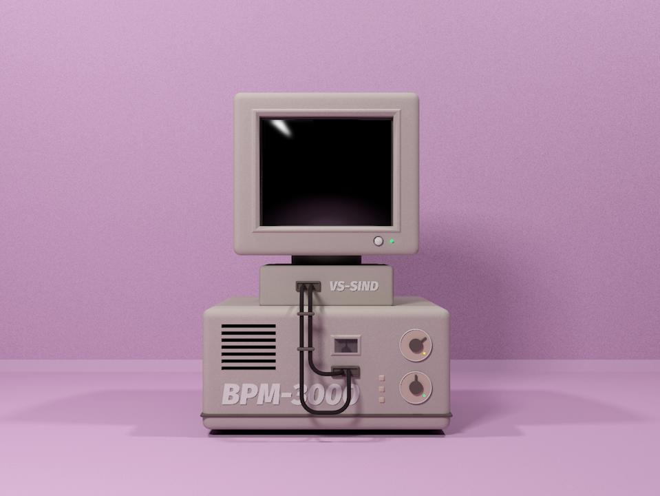 Old computer 3dmodel 3d minimal illustration design