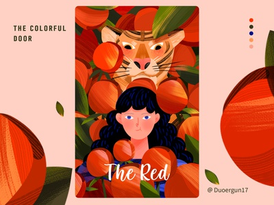 The red color rose tiger dream illustration illustrations