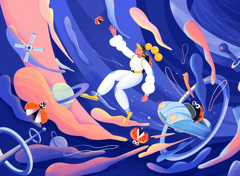 Illustrations - The wormhole adventure adventure doodle paint design illustrations