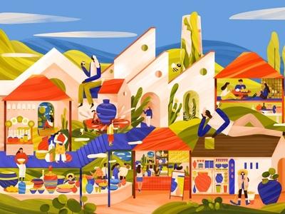 The bazaar illustration branding paint illustration illustrations