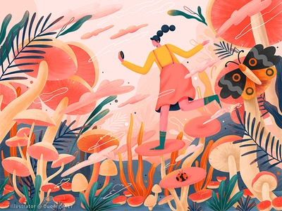 Hallucinogenic mushroom # illustrations-About the dream of time