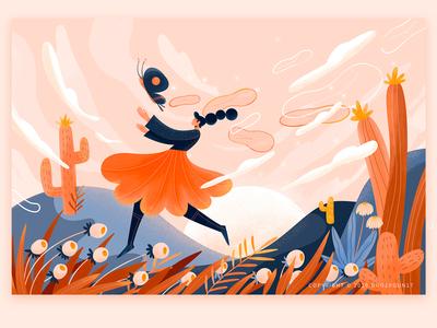 The Blue desert butterfly flower illustration dream illustration time illustrations