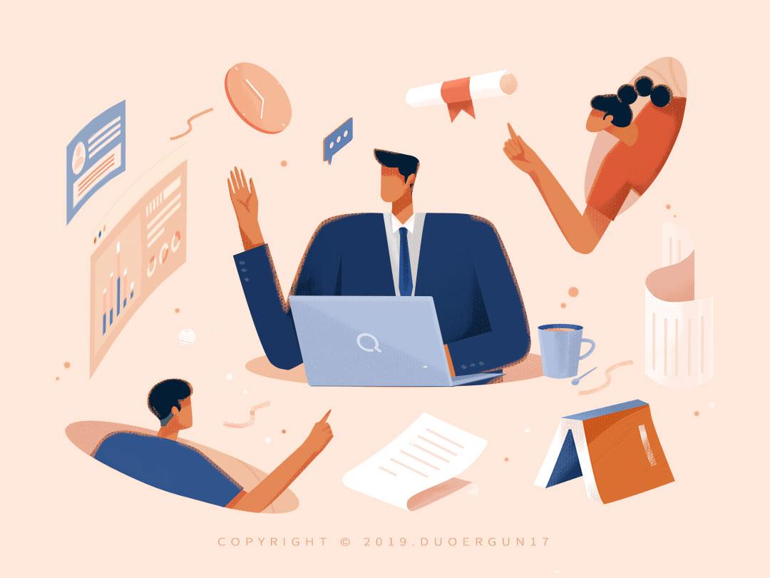 Illustration of an exam scene paint ui illustration illustrations