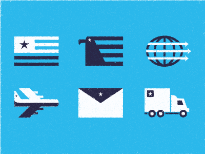 Shipping Icons illustration design mail airmail usa shipping package icons vibes