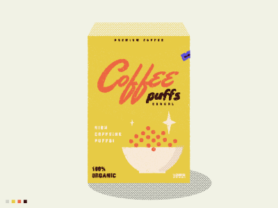 Coffee Cereal illustration design cereal bowl coffee typography vibes