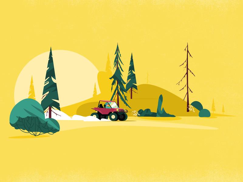 Copilote motion design yellow riding nature illustration vector