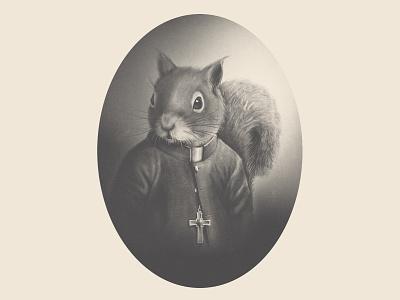 Acerum by SacreFils label process process video religion priest catholic squirrel maple blackandwhite procreate packaging branding character illustration