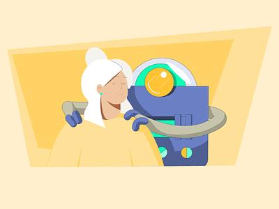 Reduce Stress for Ai-R yellow adobe illustrator frame illustrator vector ai massage character design illustration robot