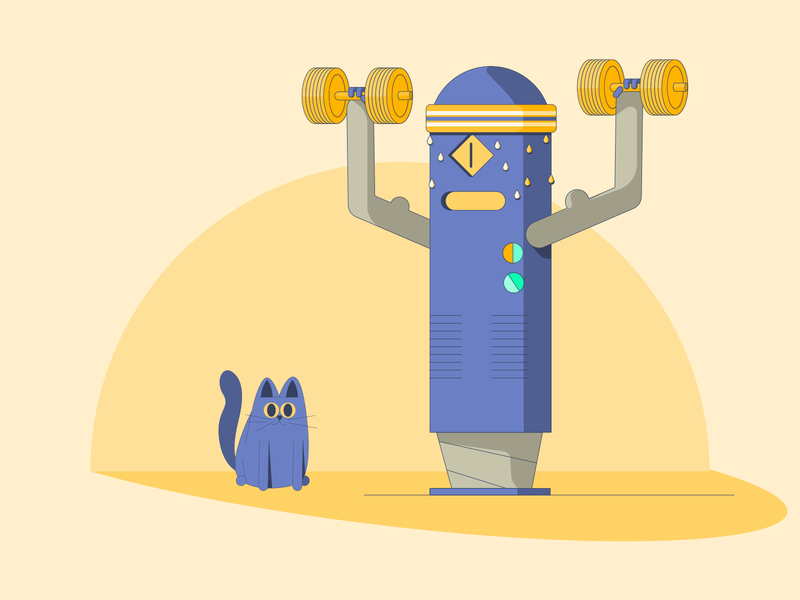 AI Training dumbell illustration illutrator sweaty robot muscle training cat character vector artificial intelligence ai