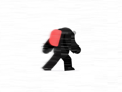 Giant in the snow, Walk cycle No2 giant windy wind walking faux 3d 2.5d character after effects black red snow storm 2d animation animation backpack walk cycle blizzard snow walk
