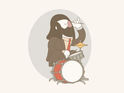 W.I.P. - Drummer 70s character drummer drum