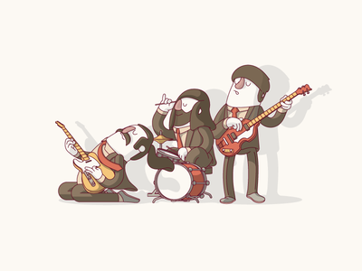 The Scales Band  character vector guitar player guitar bass player bass drummer drum hofner fender band music