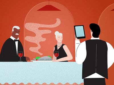 Fishly style frame #3 waiter woman men fish restaurant character illustration style frame