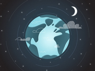 Fishly style frame #4 universe planet moon earth vector illustration style frame