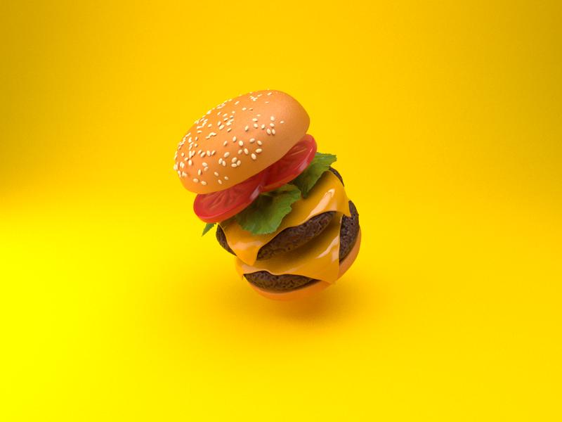 Fastfood Explode Burger style frame cinema 4d 3d fast food burger
