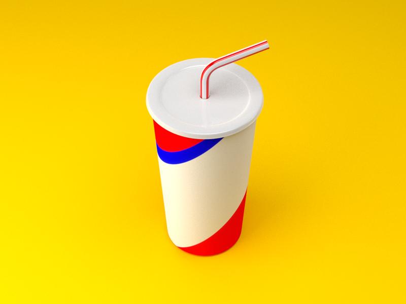 Fastfood - Soda fast food straw cup soda