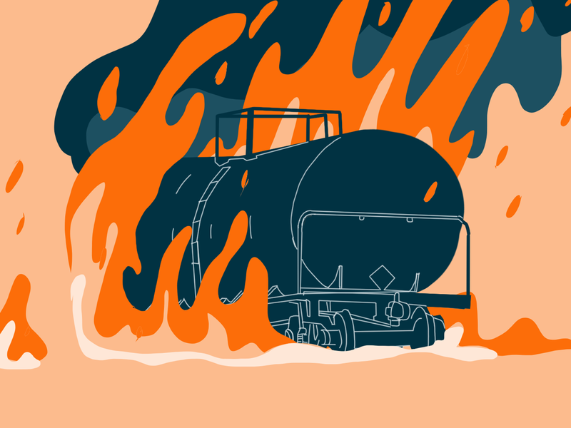 Disaster - Trail derailment wagon train disaster illustration fire accident