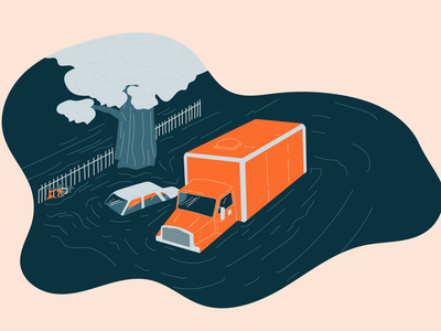 Disaster Flooding illustration disaster truck car water flooding