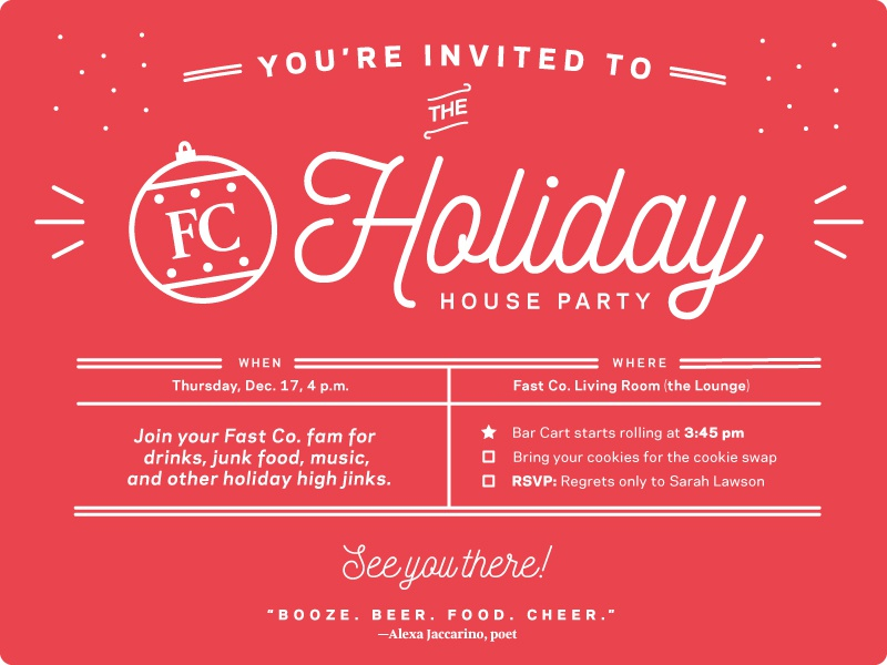 fast company holiday party invite by leslie xia