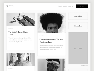 SUITED Magazine (Archive Layout 2x w/ Sidebar) sidebar editorial layout archive