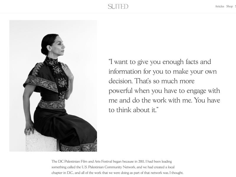 Suited Magazine Issue No.7 – Noura Erakat suited magazine wordpress publishing editorial layout content cms black and white