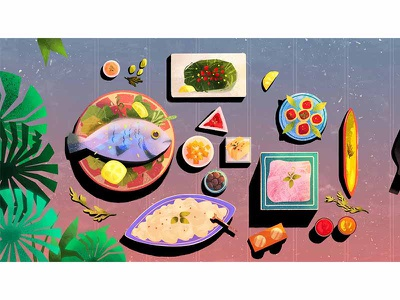Airline Commercial characterdesign character plane airline artwork fish table food illustration