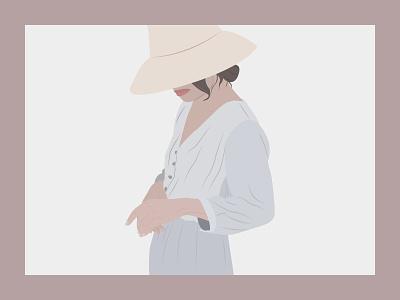 Style illustration illustration art gray pastel color feminine female figure dress hat lady woman girl minimalist flat illustration vector outfit style guide fashion illustration