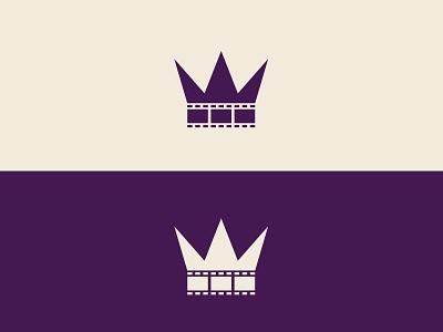 Imperial Cinema Logo purple crown cinema movie symbol minimal vector flat design branding logo