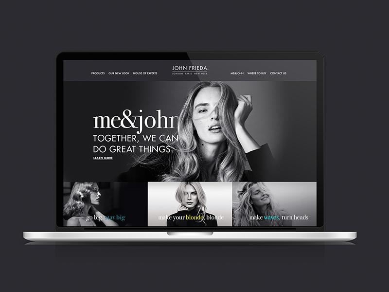 John Frieda // Website Concept hair art direction beauty campaign ux ui web design