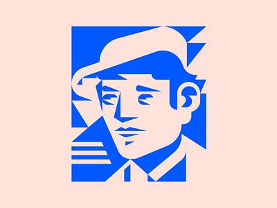 Worker Portrait logo character portrait geometric triangular flat vector minimal illustration