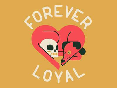 Forever Loyal skull canine heart dog cute animal flat vector character character design minimal illustration