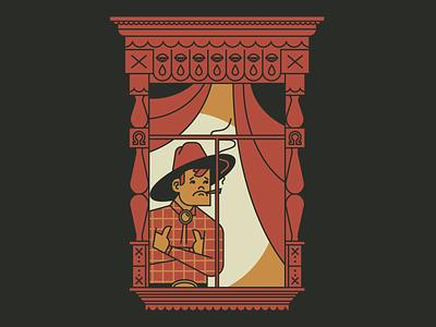 Lonely Cowpoke quarantine old west character character design cowboy southwest flat vector minimal illustration