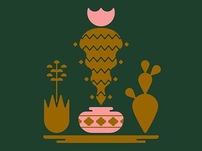 Cacti vector succulent desert cactus southwest flat minimal illustration