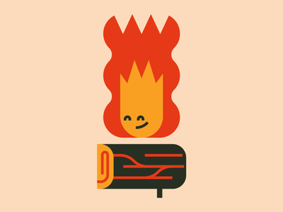 Happy Camper fire camping campfire cute southwest flat vector character character design minimal illustration
