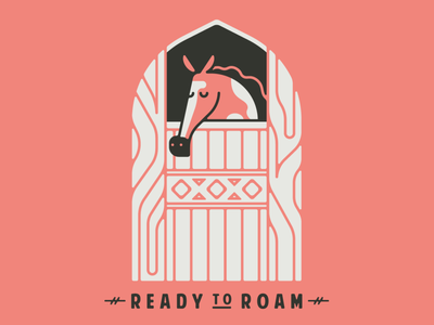Ready to Roam animal stable horse cowboy desert cute vector flat southwest minimal illustration